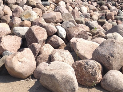 Colorful fieldstone boulders